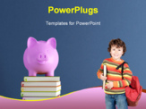 Piggy bank over colorful books against blue wall - rendering