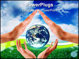 PowerPoint Template - Woman And Man Hands holds Earth Planet
