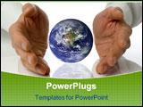 PowerPoint Template - business men holding a earth between hands