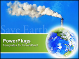 PowerPoint Template - earth with white factory smoke on blue background