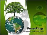 PowerPoint Template - lanet earth featuring the north and south american continents with an oak tree in full leaf in summ