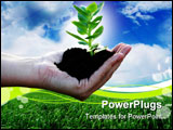 PowerPoint Template - Sustainable development-Beautiful green plant in woman`s palm