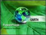 PowerPoint Template - the Earth in waterdrop on green leaf