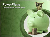 PowerPoint Template - Piggy bank stuffed with money and surrounded by coins.