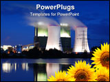 PowerPoint Template - save the nature concept with sunflower and oil power plant