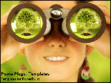 PowerPoint Template - Girl looking through binocular lens at forest.