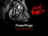 PowerPoint Template - BW low key tiger with yellow eyes for even stronger expression.