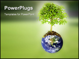 PowerPoint Template - save the planet image composition with the earth and a tree growing from it