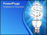 PowerPoint Template - Illustration of an illuminated money saving energy bulb