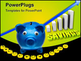 PowerPoint Template - A blue piggy bank with smiley faces making a smile on a shiny background smile your saving