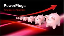 PowerPoint Template - Savings concept with piggy banks and the arrow