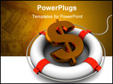 PowerPoint Template - abstract 3d illustration of rescue circle and dollar sign