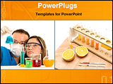 PowerPoint Template - scientists are testing solutions in lab