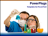 PowerPoint Template - two scientist testing solutions in a lab