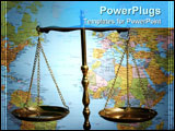 PowerPoint Template - Still-life of the scales of justice with map background.
