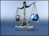 PowerPoint Template - A silver brass scale on blue background - 3d render