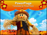 PowerPoint Template - A scarecrow sitting on fall leaves on a sky background scarecrow