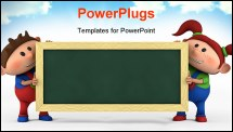 PowerPoint Template - cute cartoon boy and girl with blackboard - high quality 3d illustration