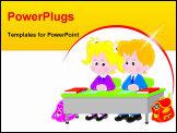 PowerPoint Template - Vector illustration of elementary school students sitting at a desk in a class