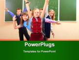 PowerPoint Template - Happy schoolchildren at a classroom. Education.