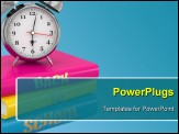 PowerPoint Template - Back to school. Alarm clock on books. 3d