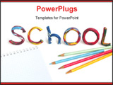PowerPoint Template - Writing School from color plasticine with writing-book and pencils