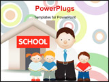 PowerPoint Template - illustration of end of school and students thanking their teacher