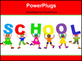 PowerPoint Template - Group of happy and diverse children holding up letters that spell out the word SCHOOL