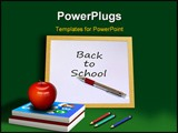 PowerPoint Template - A computer illustration of school equipment with apple books pencils and chalkboard.