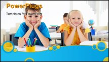PowerPoint Template - Boy and girl sitting together at a desk at school