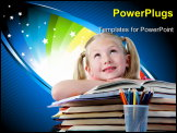 PowerPoint Template - Portrait of cute schoolgirl keeping her arms on open book and looking upwards