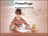 PowerPoint Template - adorable girl studying with a book over white background