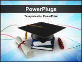PowerPoint Template - 3D school graduation cap isolated on white