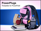 PowerPoint Template - oing to school is your future. Education learning teaching. A backpack is ready for the new school
