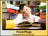 PowerPoint Template - Little boy sits in the midst of large stacks of books.