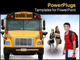 PowerPoint Template - Front view of school bus against white background