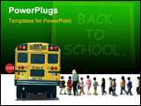 PowerPoint Template - Back to school concept: Students (children/pupils) and a teacher boarding a bus