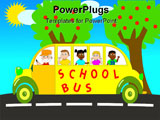 PowerPoint Template - A yellow school bus whit happy child