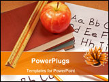 PowerPoint Template - a desk top full of school items and an apple
