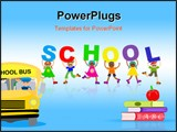 PowerPoint Template - Group of happy and diverse children holding up letters that spell out the word SCHOOL.