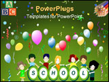 PowerPoint Template - school party; balloons confetti and stars; happy children