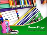 PowerPoint Template - school supplies laid out on a table ready for the first day of school.