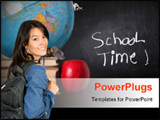 PowerPoint Template - Classroom items. Blackboard and books with globe.