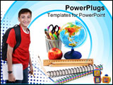 PowerPoint Template - box with pencils spiral netebook and red apple on white