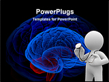 PowerPoint Template - 3d rendering of a brain and a doctor