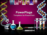PowerPoint Template - Science and Genetics icons - DNA strand and laboratory equipment