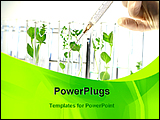 PowerPoint Template - scientist testing plants with syringe