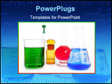 PowerPoint Template - Chemist research laboratory with chemical colorful equipment over white