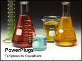 PowerPoint Template - Scientific glassware filled with colored liquids on a graduated background