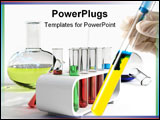 PowerPoint Template - Flasks & test tubes over the white